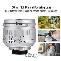7Artisans 50mm f1.1-f16 Manual Focusing Lens for Leica M Mount Digital Cameras T