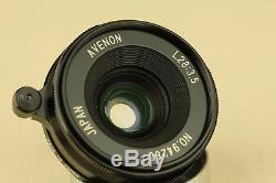 Avenon 28mm f/3.5 Black lens for Leica L39 LTM LSM Screw Mount