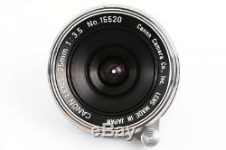Canon 25mm F/3.5 Lens Leica Screw Mount LTM L39 from Japan MINT