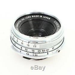 Canon 25mm f3.5 LTM L39 Leica Screw Mount Lens with M Adapter for M3/M2/M6/MP