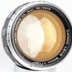 Canon Rangefinder 50mm f1.2 LTM L39 Leica Screw Mount Lens EX+++