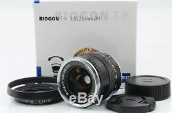 Carl Zeiss Biogon T 25mm F/2.8 ZM Lens For Leica M mount withhood Near N 99-F46