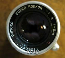 Chiyoko Minolta Super Rokkor C 5cm 50mm f/2, Leica Screw Mount LTM L39 Lens, Exc