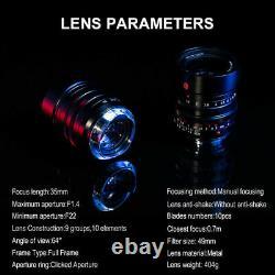 EU SHIP 7artisans 35mm f/1.4 for LEICA-M mount Full-Frame Lens fits L/T/SL/CL