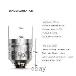 EU SHIP SILVER TTartisan 50mm f/0.95 LEICA-M mount Full-Frame Lens TTartisans