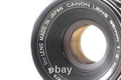 EXC+5 Canon 35mm f/2 Black Leica Screw Mount L39 LTM MF Lens From JAPAN #1032