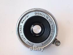 Ernst Leitz 3.5cm f3.5 Summaron Leica lens And Bright Line viewfinder. M-mount