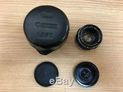 Exc+4 with Leather Case Canon 35mm f/2 Leica Screw Mount L39 LTM Lens from Japan