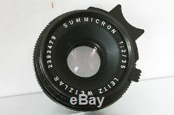 LEICA WETZLAR GERMAN 35mm F 2.0 SUMMICRON LENS LEICA M MOUNT