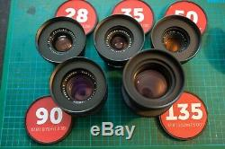 Leica R Lens Set 28 35 50 90 135 cine mod Leitax EF Canon Mount