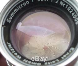 Leica SUMMICRON 50mm f/2 Collapsible LTM Screw Mount Lens RADIOACTIVE Leitz