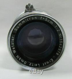 Leica Summicron 50mm f/2 Rigid Type 2 Lens LCA'd Vintage Tested M Mount