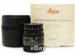 Leica Summicron-M 50mm F2 E39 Lens. Case. Box For Leica M Mount
