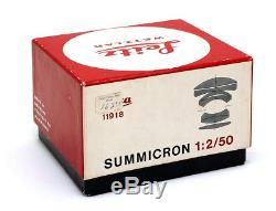 Mint Condition Leica 50mm f2 DR Summicron M Mount Rangefinder Lens with Box 27298