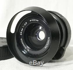 Near MINT Minolta M Rokkor 28mm F/2.8 for CLE CL Leica M Mount with Hood JAPAN