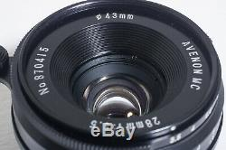 Near Mint AVENON MC 28mm F3.5 L39 Leica Screw Mount Wide Angle Lens from Japan