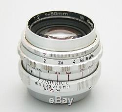 Steinheil Munchen 50mm F2 Quinon Leica LTM Mount. Original Leica Spec Lens