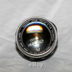 Vintage Canon Rangefinder 50mm f1.2 Prime Leica Thread Mount L39 LTM