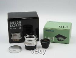 Voigtlander Color Skopar 21mm f4 m39 Leica Thread Mount with LH-1 Lens Hood LTM