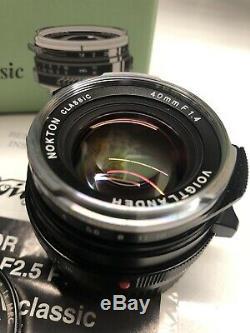 Voigtlander Nokton 40mm f/1.4 MF Lens Leica M Mount, B+W Filter, Hood, Excellent